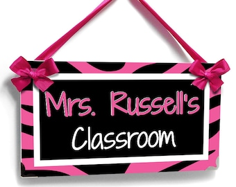 personalized teacher pink zebra print classroom door sign - school / class decor plaque - P327