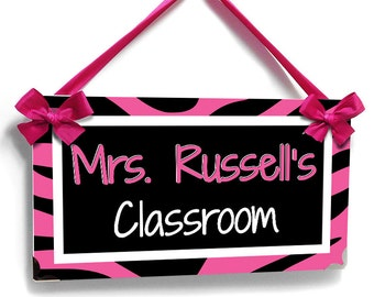 Personalized assistant principal office name door sign personalized teacher pink zebra print classroom door sign school class decor plaque p327 pronofoot35fo Gallery