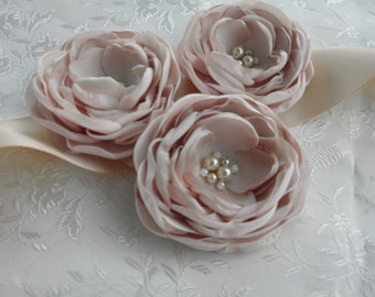 Champagne, Blush Flower Sash, Blush Wedding Sash, Blush Bridal Sash, Blush Flowers
