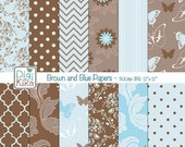 Blue and Brown Digital Papers - Scrapbooking, background, card design, invitations, stickers, paper crafts, web design - INSTANT DOWNLOAD