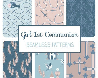 Boy First Communion Seamless Pattern - Communion Tillable Background - Fabric Print, Wall Papers, Wrapping Papers - Instant Download