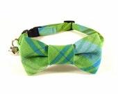 Cat Small Dog Bow Tie Collar, PLAID, Handmade