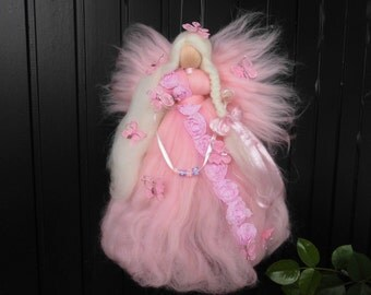 personalized butterfly fairy with name 11 inch pink white fairy needle felted fairy  needle craft- flower fairy gift idea felted elf
