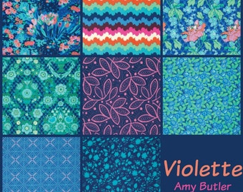 Amy Butler Fabric - 8 Fat Quarter Bundle Violette Morning Palette