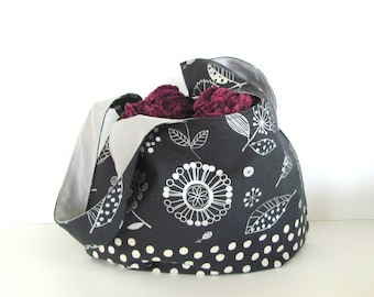 Tote Bag, Knitting Project Bag Self Closing Japanese Knot Handbag, Large Charcoal Silver Floral Yarn Bag or Diaper Bag