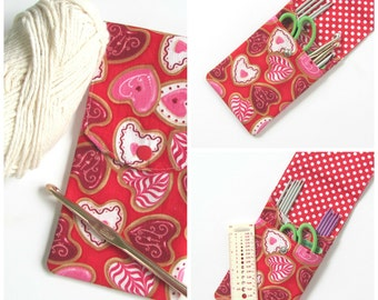Knitting Needles Case Notions Bag, Red Heart Cookies Crochet Hook Storage Case, Needles and Sewing Supplies Organizer