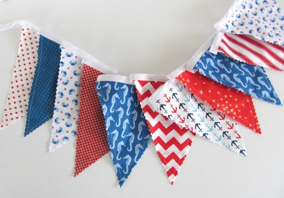 Bunting banner boy 39 s nautical nursery decor by ovationstudio for Nautical nursery fabric