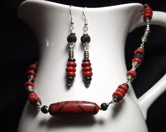Red & Black Tribal Inspired Necklace Earring Set