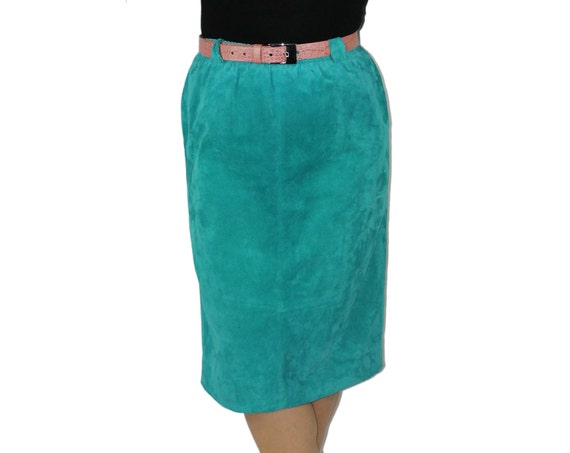 suede skirt turquoise pencil skirt high waist by filthyrebena