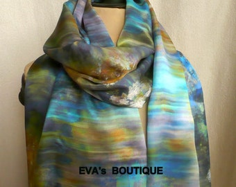 Pure natural silk scarf, turquoise, blue, yellow, horizontal discreet stripes, elegant, very long soft, light natural silk scarf, gift idea