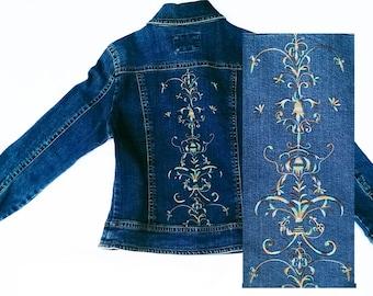 Vintage Embroidered Ladies Denim Jacket Size M