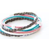 Leather Wrap Bracelet -  Coral, Ocean Teal, White & Golden Brown Leather Wrap Bracelet- Gift For Her
