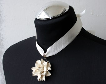 Ivory leather rose flower pendant
