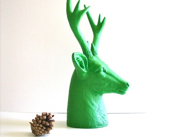 Faux Stag Deer Head Bust animal statue in green for tabletop home decor nursery decor gift for him her office decor deer head