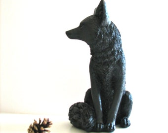 BROWN BLACK Large Fox Animal Statue in brown-black woodland cabin nursery kids room office gift for her him table top statue decor
