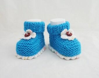 Handknitted Baby Booties, Cute Baby Booties, Baby Booties, Aqua Blue and White Booties, Booties and Flower
