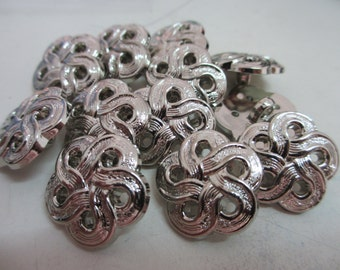 12 New 20 mm Flower Shape Silver Tone Plastic Shank Buttons