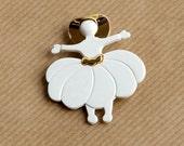 Ballerina Brooch - Girl White Pin - Scarlett O'Hara - Lea Stein Look-a-like - Plastic Pin