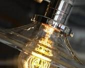 Clear Glass Shade Pendant Light  - Minimalist Light - Industrial Hanging Light - Lamp - Kitchen Light - Bar Light