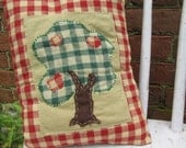 Accent Pillow Tuck Art Homespun Colorful Soft Handmade Summer Harvest Fall Country Embroidery Apple Tree