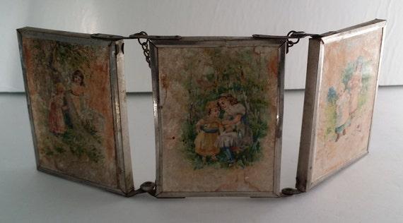 Vintage Tri Fold Travel Mirror Victorian By Quantitiesofquaint