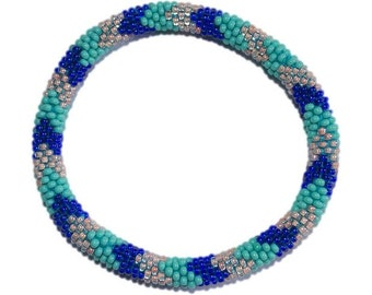 Turquoise ,Cobalt Blue and Peach Crocheted Beaded Bracelet, Seed Beads,Nepal, PB326