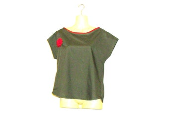 Womens T Shirt, Womens Tops, T Shirts, Khaki Top,Tops, Size 12, Size 10, By Rebeccas Clothes