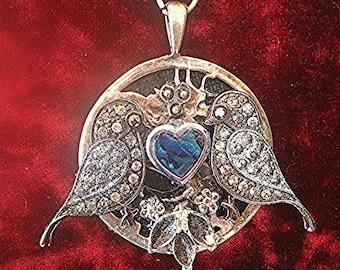 Vintage Love Bird Abalone Pendant