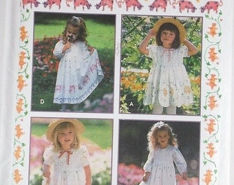 Vintage Rare Toddlers Stenciled Dress Simplicity Craft Pattern 9403 Country Wedding Flowers Girl Summer Dress Stencil Pattern Destash Supply