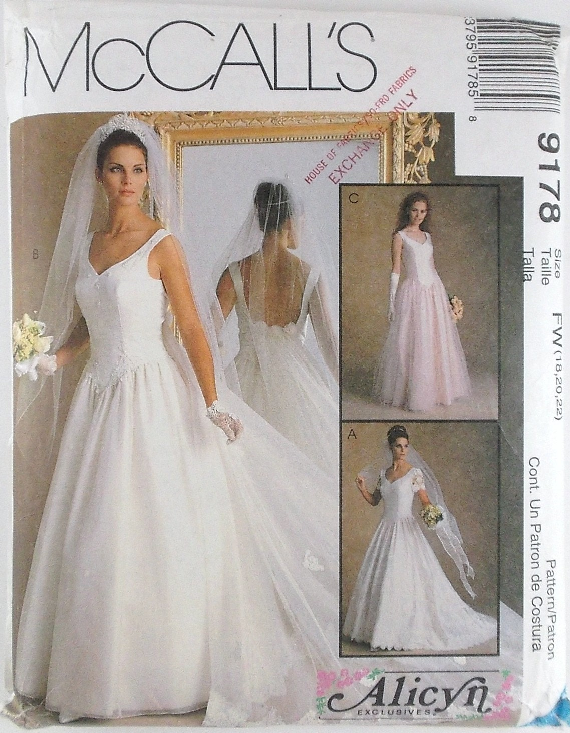 Misses bridal gowns dress plus sizes mccalls pattern 9178 for Wedding dress patterns plus size
