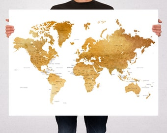 World Map Art Print Poster Watercolor Brown Gold Political Map - Capitals - USA states Travel Map World Map - Summer Gift Idea