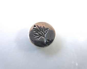 Sterling Silver 925 stamped charm with leaves-10mm round-oxidized finish boho chic organic nature charm bracelets