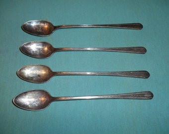 "Four (4), Silver Plated, 7 3/4"" Ice Tea Spoons, from Wm Rogers (eagle) / International, in the Elton 1940 Pattern."