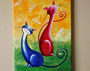 """Original Cat Painting for Sale : Fantasy Cats  """"Cats with Dragonflies"""", acrylics on canvas"""