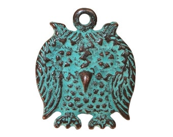 Mykonos Owl 1 and 1/8 inch ( 29 mm ) Metal with Green Copper Patina Pendant
