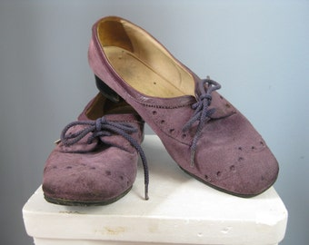 Purple Suede Shoes / Vtg 70s / Bally Sporty Oxford Flats / Purple Suede lace up shoes UK 4.5 US 6.5 - 7 narrow