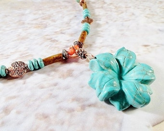 Turquoise And Coral Necklace, Carved Flower Pendant, Gold Tube Coral And Pink Bamboo Coral, Copper Accent Beads, OOAK