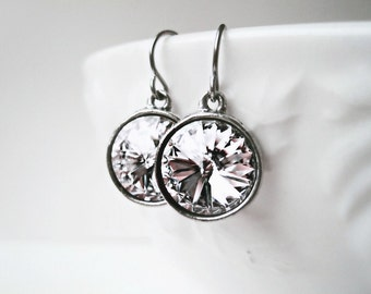 Diamond Swarovski Earrings. Crystal Clear Rhinestone Drop Earrings. Handmade Silver Bridal Jewelry. Simple Wedding Sparkling Earrings