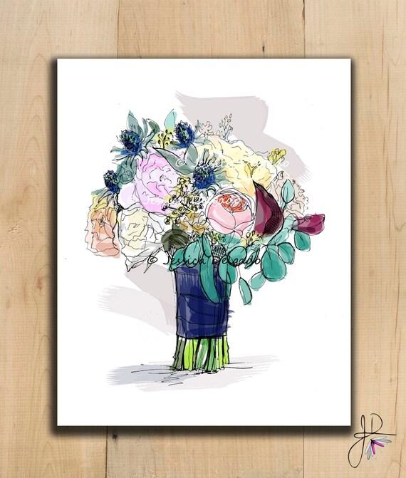 Wedding Bouquet Illustration Bridal Drawing By BeautyInPattern