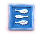 Ceramic fish art, Ocean blue fish art, Fish Home decor, Fish Nautical wall decor, Beach house decor, White and Blue