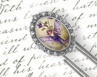 Bookmark Fairy Faerie,  Purple Boy Fairy Faerie Bookmark, Flower Faerie Fairy Bookmark, Writers Gift Bookmark, Large Paper Clip Bookmark