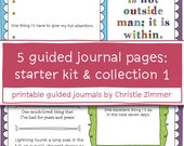5 Printable Guided Journal Pages - Starter Kit and Collection 1