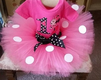 Pink,White and Black Minnie Mouse Shirt and Tutu Skirt Birthday Outfit