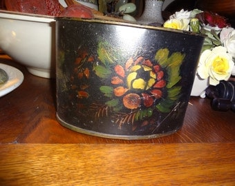 """Pretty little hand painted Tole metal pot measures 5"""" high by 7.5"""" wide and almost 5 inches in depth."""
