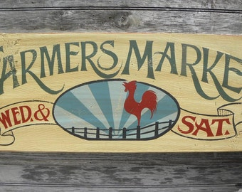 "Farmers Market Sign, original , hand painted. ""faux"" vintage, sign,art,wooden sign ZF FM 6"