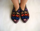 love heart slippers, womens slippers, multicolour love heart Turkish Socks Slippers, knit home shoes, gifts for woman, st valentines gifts