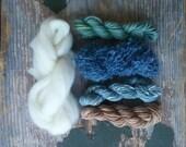 Three 100 gram skeins of dark indigo dyed worsted merino wool- RESERVED FOR dkkpersonal