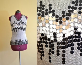 1960s Vintage Colt Orient Silver and Sequin Sleeveless Top size 10 (M) bust 32-36