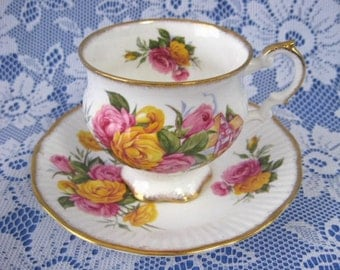 Cup And Saucer Roses With Cottage Elizabethan 1950s Bone China Brushed English Cottage
