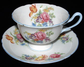 Shelley China Gainsborough Shape Cup and Saucer Butchers Crocus Rose 1940s Teacup